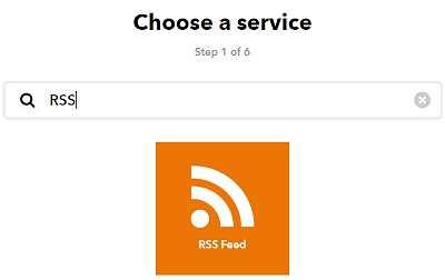Избор на услугата RSS