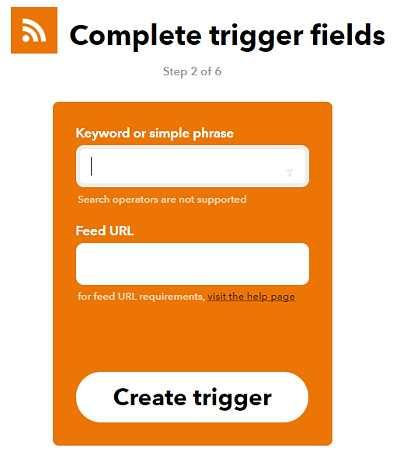 Създаване на тригер с ключова дума или фраза и URL