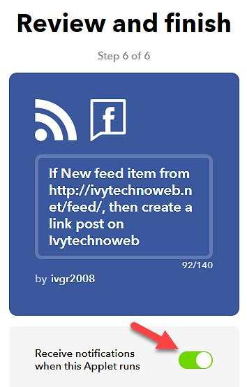 Завършване на свързването между RSS Feed и Facebook страница
