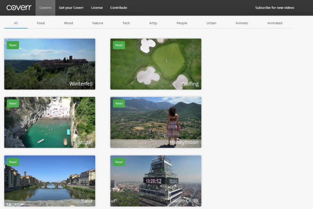 Coverr–безплатно видео за фон на началната страница на сайта 1