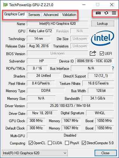 GPU-Z дава информация за графичната карта