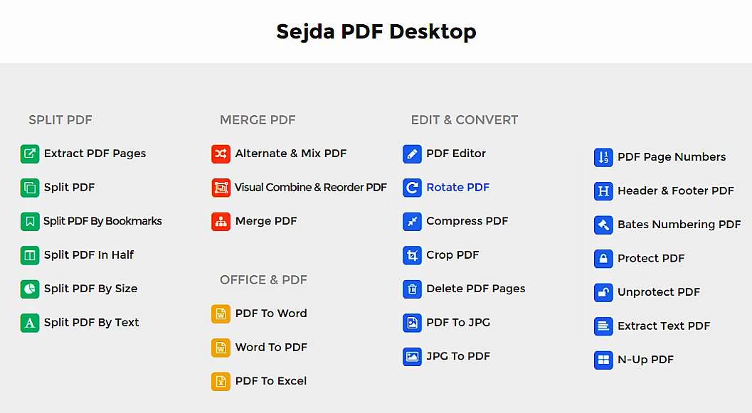 Многофункционален безплатен онлайн pdf редактор Sejda 2