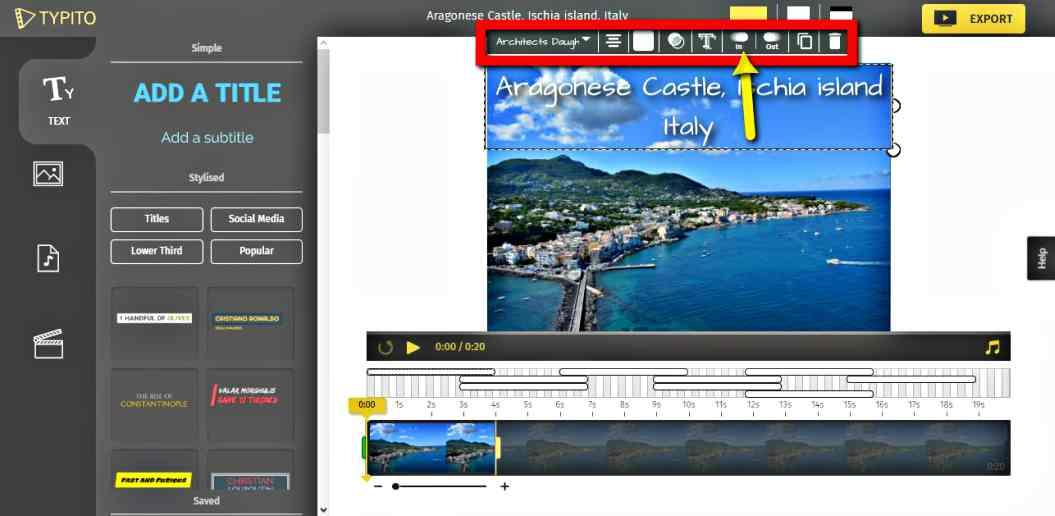 Създаване на видео в анимирана графика безплатно с Typito текст 3