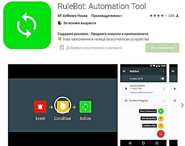 RuleBot за автоматизация в Android