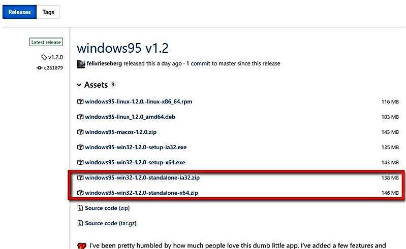 Windows 95 като приложение за Mac, Windows и Linux 4