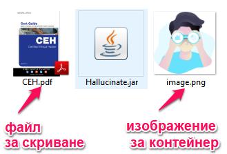 Hallucinate-скриване на файл в изображение 1