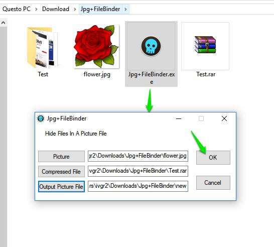 JPEG Binder-скриване на файл в изображение 2
