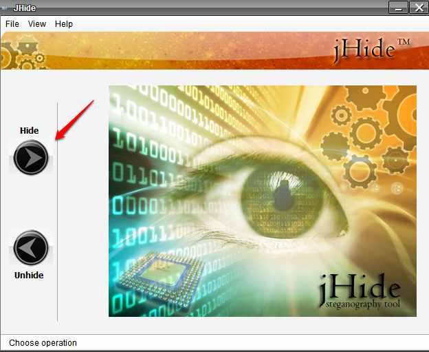 Jhide-скриване на файл в изображение 1
