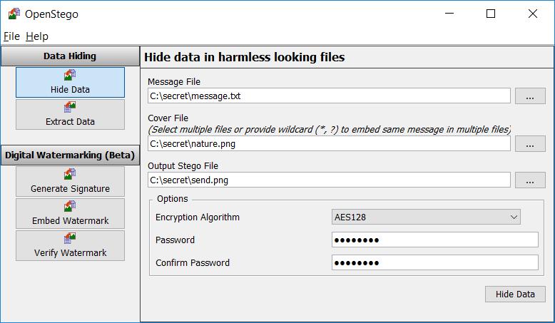 OpenStego-скриване на файл в изображение 2
