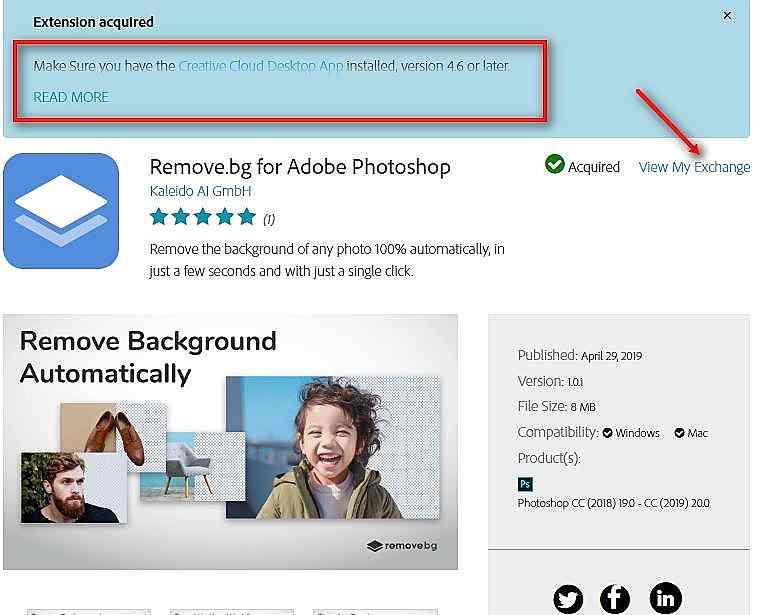 Remove bg for Photoshop - инсталиране чрез Exchange