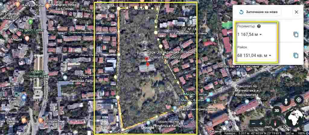 Google Earth-измерване на площ