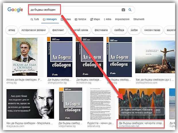 Kласиране на изображения в Google