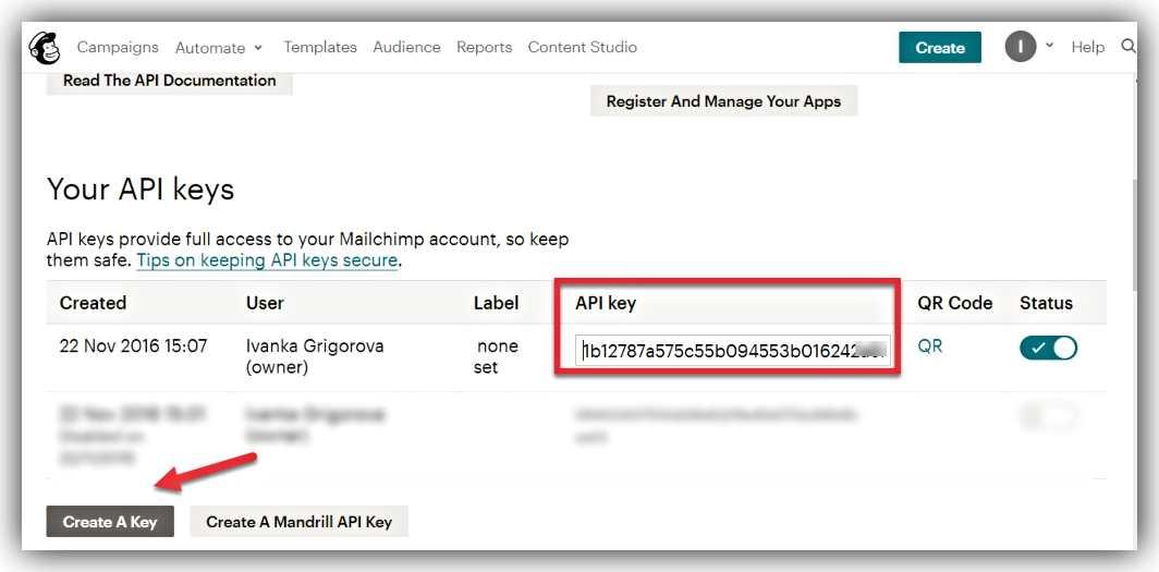 Генериране на Api key, за да свържем MailChimp,към WordPress