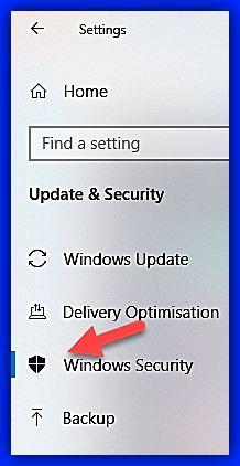 Отваряне на екран Windows Security