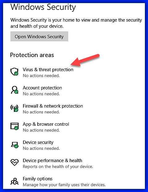 Отваряне на екран Virus&theart protection