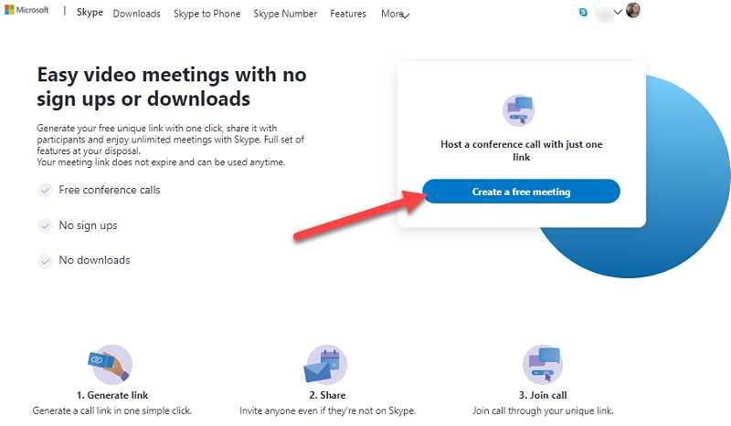 Създайте безплатна Skype видео среща