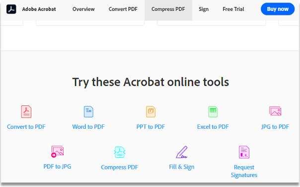 Acrobat online tools