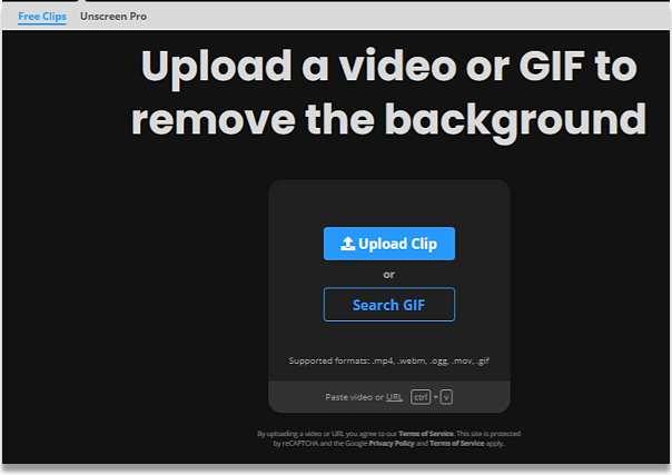 Качване на видео или гиф за премахване на фона