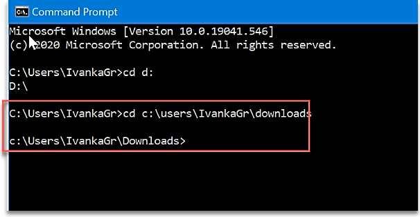 Промяна директория в командния ред - Не мога да създам нова папка във Windows 10