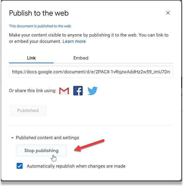 Отмяна на публикуване на документ