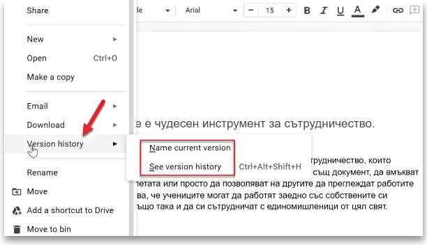 История на версиите на документа
