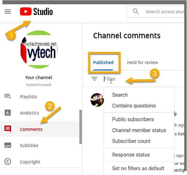 Коментари и филтри в YouTube