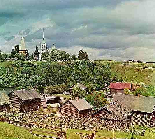Фотограф Прокудин-Горски – Общ изглед към Църквата на Преображението, Пидма 1909