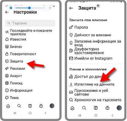 Изтегляне на Instagram информацията